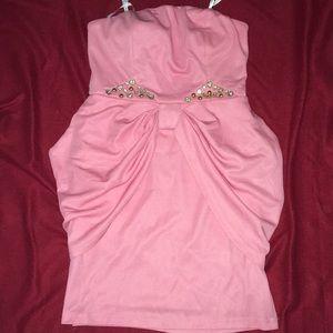 Beautiful pink peplum dress with rhinestones 💕🎀